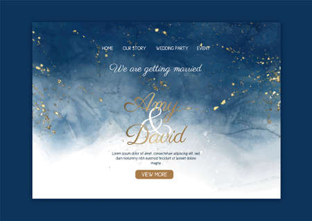 Elegant wedding landing page with hand painted watercolour design