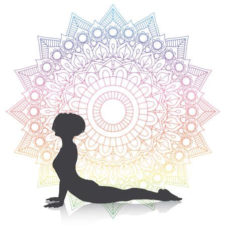 Silhouette of a female in yoga cobra pose on a mandala design 向量圖像