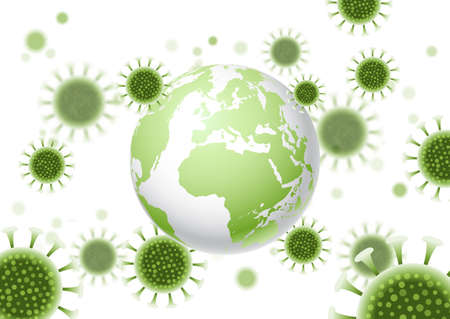 Abstract background with a world globe and virus cells design