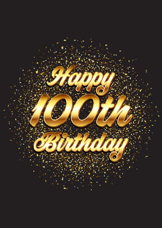 Happy 100th birthday card with gold glitter design