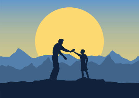 Fathers day background with silhouette of father and son in a sunset landscape