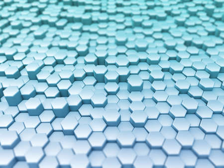 3D render of a landscape of extruding hexagons