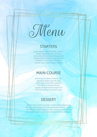 Elegant menu design with a watercolour design
