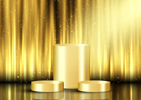 golden display background with empty podiums