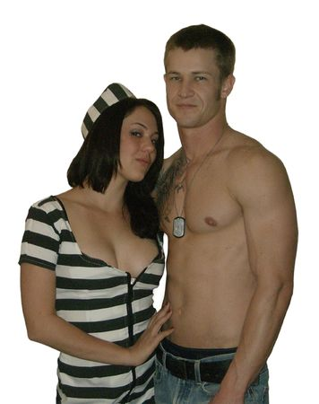 Young Woman in Stripes with Young Man photo