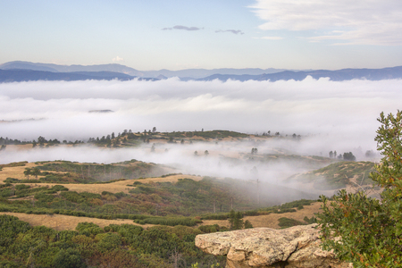 Foggy mountain overlook in Colorado park Stock Photo