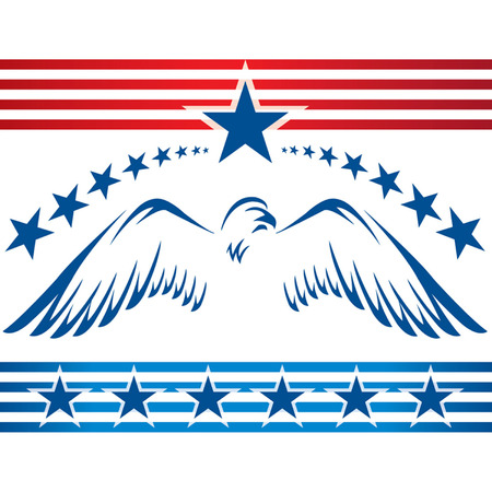 Red white and blue eagle with stars and stripes 向量圖像