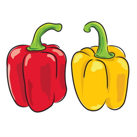 Red and yellow bell peppers Иллюстрация