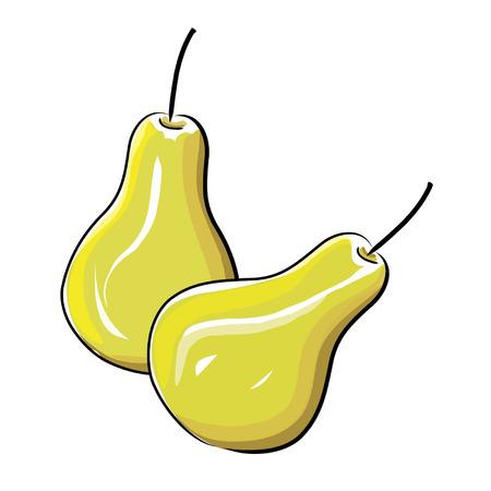 新鮮な選ばれた梨の図  イラスト・ベクター素材