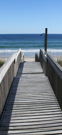 topsail: Boardwalk leading the way to a beach on Topsail Island, North Carolina  Stock Photo
