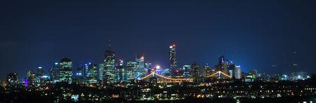 highrises: Brisbane City, Australia at Night With Storey Bridge