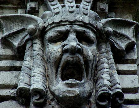 Detail of an Art Nouveau Building- A Screaming Face