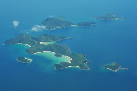 birdseye view: Aerial View of  Uninhabited Islands in the Ocean
