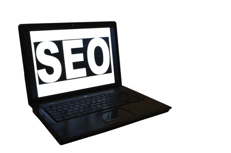 SEO, Search Engine Optimization- Isolated Image of a Laptop Stock Photo