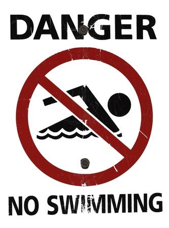 no swimming sign: No Swimming Sign