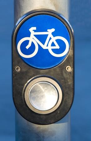Traffic Light Button for Bikes Stock Photo