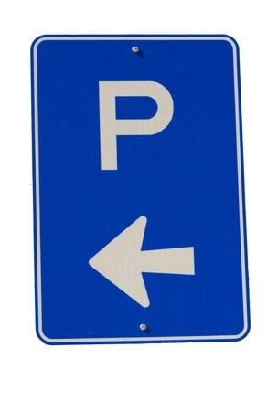 se�al parking: Signo de estacionamiento azul con flecha izquierda