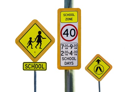 School Zone and Pedestrian Crossing Traffic Signs photo