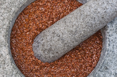 Linseed in Stone Mortar