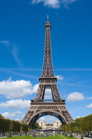 Eiffel Tower, Paris, France on a Beautiful Day With Blue Skies