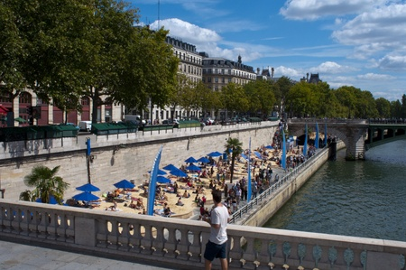 temporary: Paris, France, August 16, 2011 - Temporary Artificial beach on the banks of the Seine  (Paris Plage)