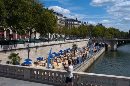 Paris, France, August 16, 2011 - Temporary Artificial beach on the banks of the Seine  (Paris Plage)