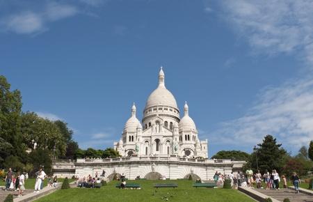 Paris, France, August 16, 2011 -  Tourists at the Basilica of the Sacred Heart of Jesus of Paris ( Sacré-Cœur) Stock Photo - 10435308