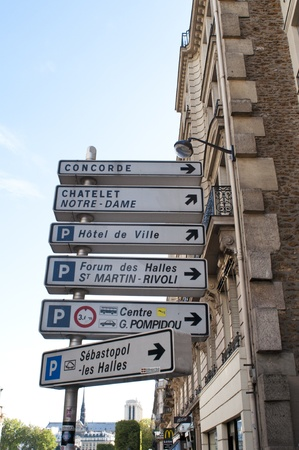 Paris, France, August 16, 2011 - Signs showing directions to various Paris landmarks.