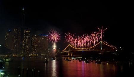Brisbane, Australia, September 3, 2011 - Brisbane Riverfire Fireworks Show. View from Eagle St Pier with Story Bridge