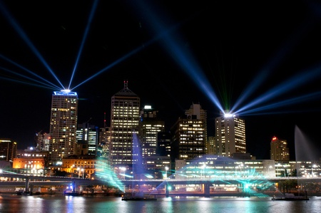 BRISBANE, AUSTRALIA - SEPTEMBER 15: Santos City of Lights Laser Show on September 15, 2011. City of Lights is an event of Brisbane Festival with two shows every night between September 4 and 24.