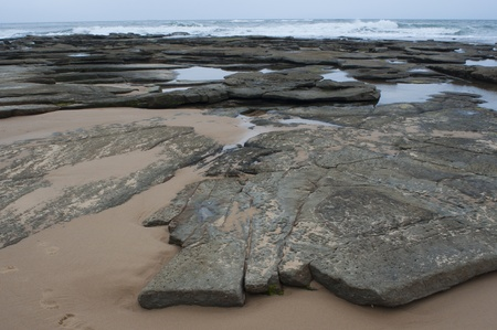 grey water: Seaside - Rocks on Moffat Beach, Sunshine Coast, Australia