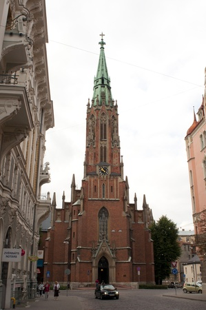 neo gothic: Riga, Latvia, August 2011: St. Gertrude Old Church