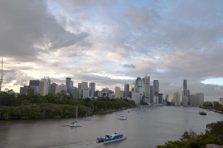 Brisbane, December 8, 2011- Brisbane City and Brisbane River at Dusk Editorial