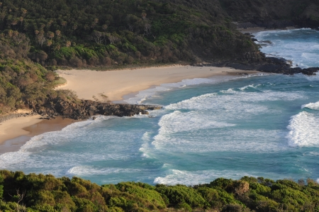unspoilt: Bird s-eye View of a Secluded Beach, Australia Stock Photo