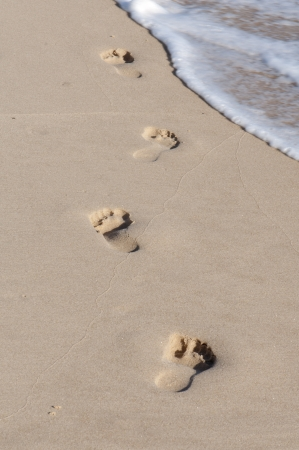Footprints in Wet Sand on a Beach