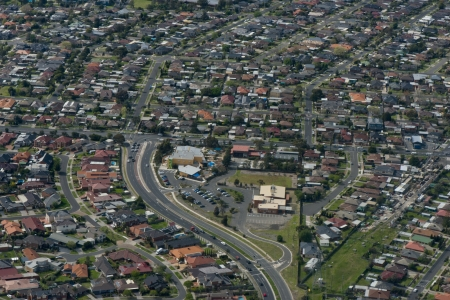 suburbia: Melbourne Suburbia From Above Stock Photo