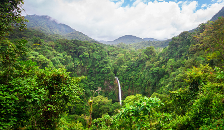 The La Fortuna Waterfall (Catarata La Fortuna) flows through a very dense jungle and plummets over a large rocky cliff near the town of La Fortuna and near Volcan Arenal, Costa Rica.