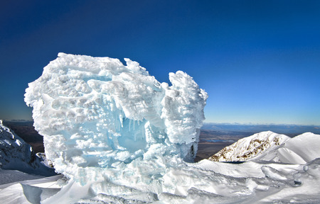 Large snow and ice formations on the top of Mt. Ruapehu in New Zealand.
