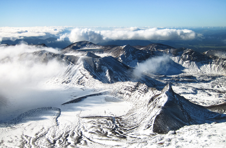 Tongariro National Park is home to epic rocky and icy peaks and provides excellent outdoor adventure opportunities. North island of New Zealand.