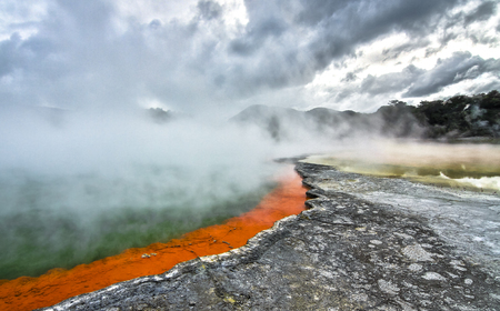 Champagne Pool at the Wai-O-Tapu Thermal Wonderland in New Zealand.