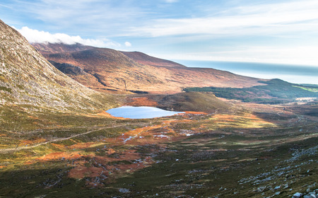 Mountain and lake scenery in the Mourne Mountains in Northern Ireland, UK.