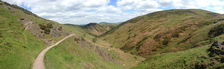 Panoramic shot of the Long Mynd area of Shropshire, England on a sunny day. Archivio Fotografico - 120150189