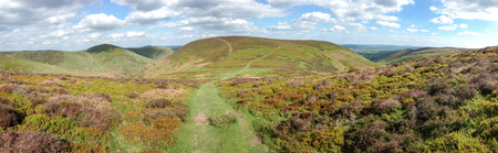 Panoramic shot of the Long Mynd area of Shropshire, England on a sunny day. 写真素材 - 120150191