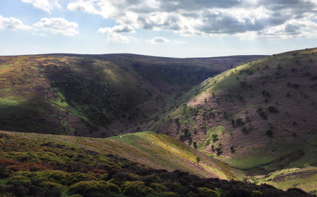 The Long Mynd area of Shropshire, England on a sunny day. Stock Photo
