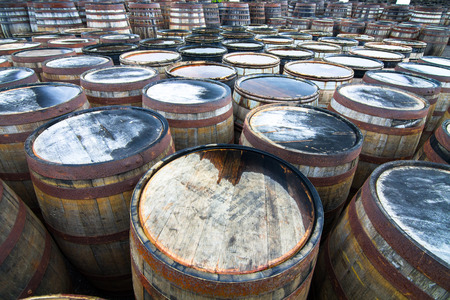 Hundreds of wooden barrels used for aging whisky sit together with water collected on their tops. Photographed on the island of Islay in Scotland. Archivio Fotografico - 120150807