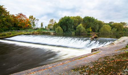 The Shrewsbury Weir on the River Severn in Shropshire, England.
