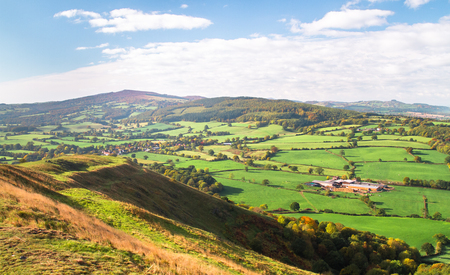 Expansive farmland as seen from Pontesford Hill in Shropshire, England. 写真素材