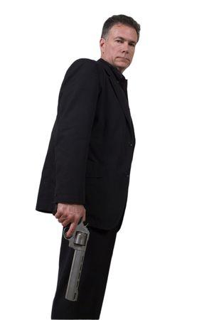 magnum: Voyageur, hansome, exploitation des hommes blancs de 44 magnum portait un revolver noir suite isol� sur un fond blanc. Banque d'images