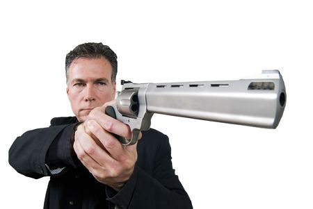 suite: Mature, hansome, white male aiming a 44 magnum revolver wearing a black suite isolated on a white background.