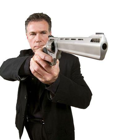 magnum: Man visant une arme de 44 magnum